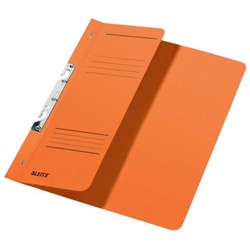 Gyorsfűző, karton, fémszerkezettel, A4 feles, LEITZ, narancssárga