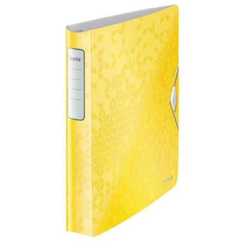 """Gyűrűs könyv, 4 gyűrű, D alakú, 52 mm, A4, PP, LEITZ """"Active Wow"""", sárga"""