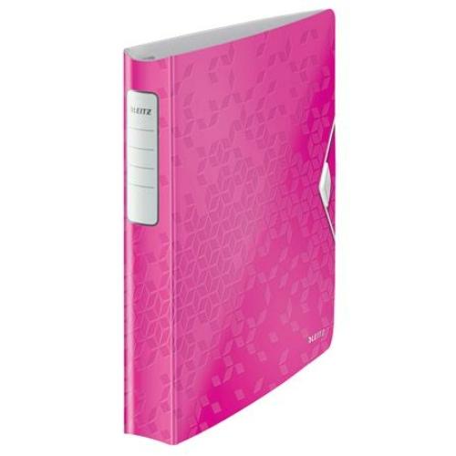 """Gyűrűs könyv, 4 gyűrű, D alakú, 52 mm, A4, PP, LEITZ """"Active Wow"""" rózsaszín"""