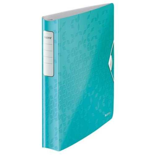 """Gyűrűs könyv, 4 gyűrű, D alakú, 52 mm, A4, PP, LEITZ """"Active Wow"""" jégkék"""