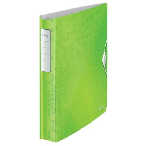 """Gyűrűs könyv, 4 gyűrű, D alakú, 52 mm, A4, PP, LEITZ """"Active Wow"""", zöld"""