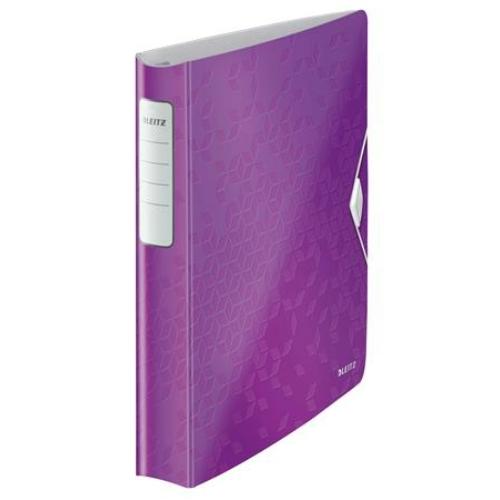 """Gyűrűs könyv, 4 gyűrű, D alakú, 52 mm, A4, PP, LEITZ """"Active Wow"""" lila"""