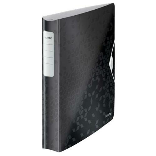 """Gyűrűs könyv, 4 gyűrű, D alakú, 52 mm, A4, PP, LEITZ """"Active Wow"""", fekete"""