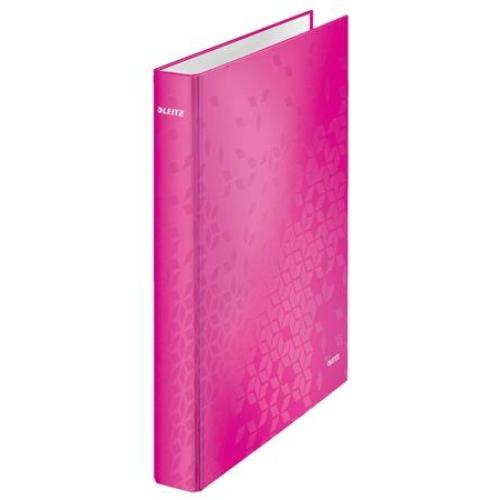 """Gyűrűs könyv, 2 gyűrű, D alakú, 40 mm, A4 Maxi, karton, LEITZ """"Wow"""", rózsaszín"""