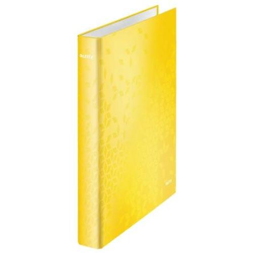 """Gyűrűs könyv, 4 gyűrű, D alakú, 40 mm, A4 Maxi, karton, LEITZ """"Wow"""", sárga"""