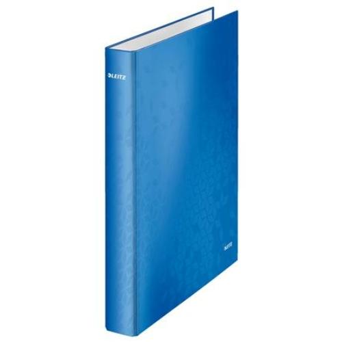 """Gyűrűs könyv, 4 gyűrű, D alakú, 40 mm, A4 Maxi, karton, LEITZ """"Wow"""", kék"""