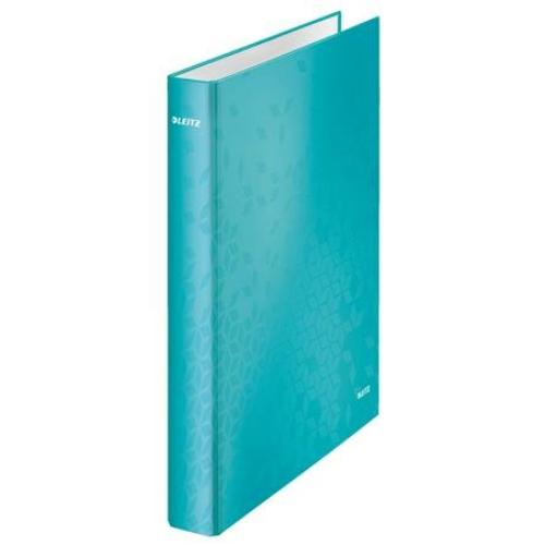 """Gyűrűs könyv, 4 gyűrű, D alakú, 40 mm, A4 Maxi, karton, LEITZ """"Wow"""", jégkék"""