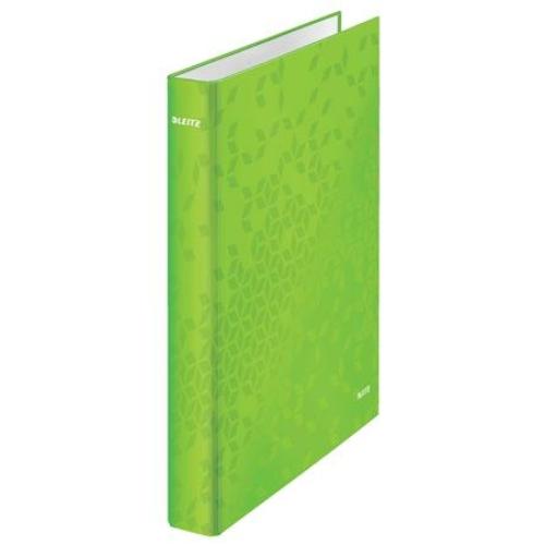 """Gyűrűs könyv, 4 gyűrű, D alakú, 40 mm, A4 Maxi, karton, LEITZ """"Wow"""", zöld"""