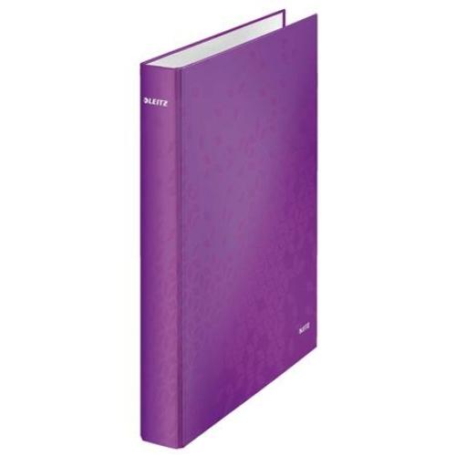 """Gyűrűs könyv, 4 gyűrű, D alakú, 40 mm, A4 Maxi, karton, LEITZ """"Wow"""", lila"""