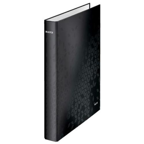 """Gyűrűs könyv, 4 gyűrű, D alakú, 40 mm, A4 Maxi, karton, LEITZ """"Wow"""", fekete"""