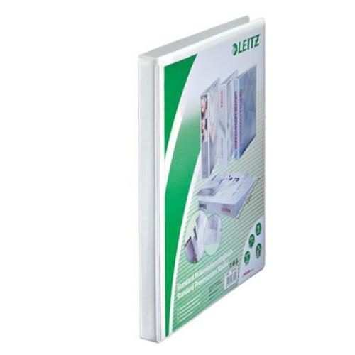 Gyűrűs könyv, panorámás, 2 gyűrű, O alakú, 30 mm, A4 Maxi, PP, LEITZ, fehér