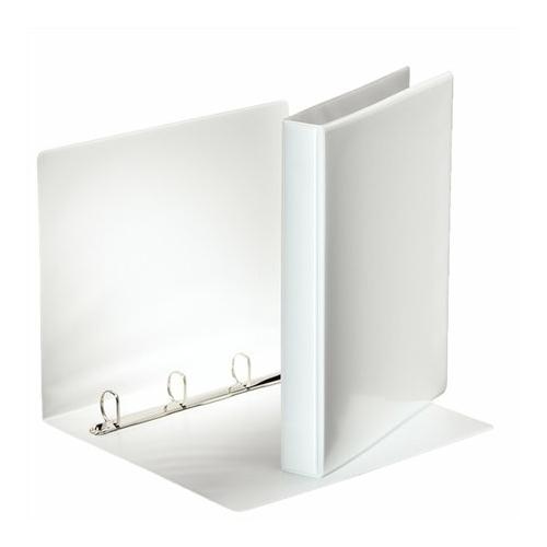 Gyűrűs könyv, panorámás, 4 gyűrű, D alakú, 40 mm, A4, PP, ESSELTE, fehér