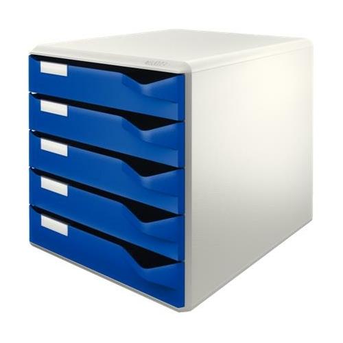 """Irattároló, műanyag, 5 fiókos, LEITZ """"Standard"""", kék"""