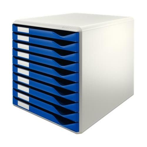 """Irattároló, műanyag, 10 fiókos, LEITZ """"Standard"""", kék"""