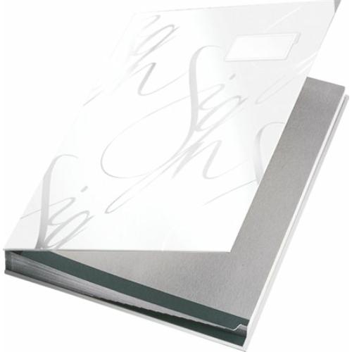 """Aláírókönyv, A4, 18 részes, karton, LEITZ """"Design"""", fehér"""