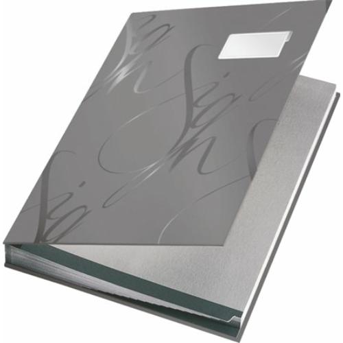 """Aláírókönyv, A4, 18 részes, karton, LEITZ """"Design"""", szürke"""