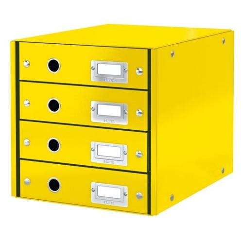 """Irattároló, laminált karton, 4 fiókos, LEITZ """"Click&Store"""", sárga"""