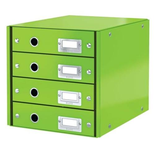 """Irattároló, laminált karton, 4 fiókos, LEITZ """"Click&Store"""", zöld"""