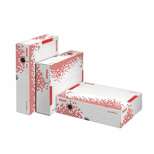 """Archiváló doboz, A4, 80 mm, újrahasznosított karton, felfelé nyíló, ESSELTE """"Speedbox"""", fehér"""