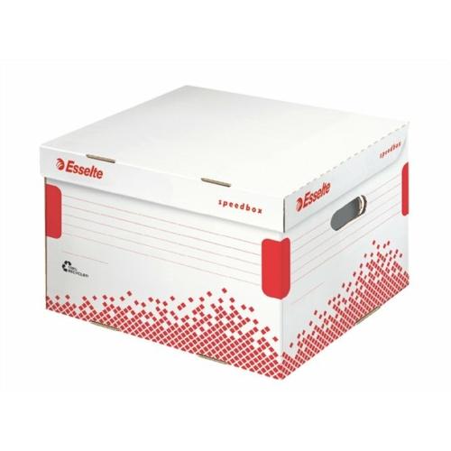 """Archiváló konténer, M méret, újrahasznosított karton, ESSELTE """"Speedbox"""", fehér"""