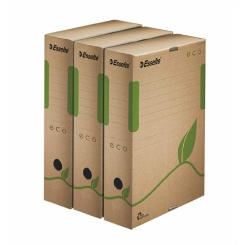 """Archiváló doboz, A4, 80 mm, újrahasznosított karton, ESSELTE """"Eco"""", barna"""