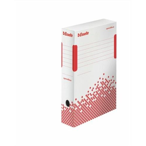 """Archiváló doboz, A4, 80 mm, újrahasznosított karton, ESSELTE """"Speedbox"""", fehér"""