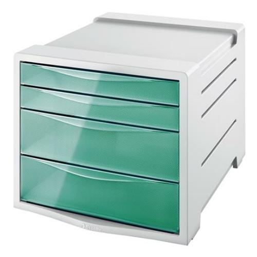 """Irattároló, műanyag, 4 fiókos, ESSELTE """"Colour` Ice"""", áttetsző zöld"""