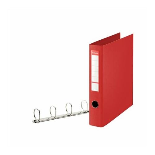"""Gyűrűs könyv, 4 gyűrű, D alakú, 60 mm, A4 maxi, PP, ESSELTE """"Jumbo Vivida"""", piros"""