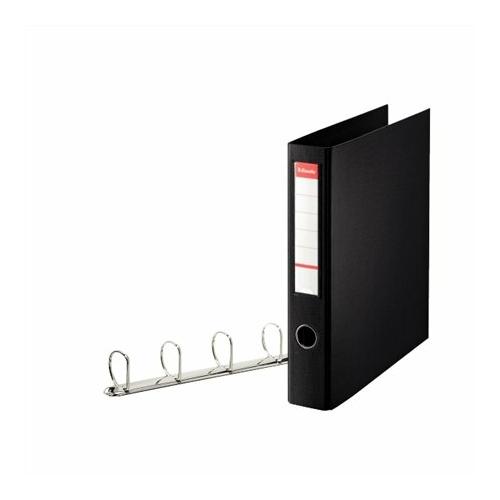 """Gyűrűs könyv, 4 gyűrű, D alakú, 60 mm, A4 maxi, PP, ESSELTE """"Jumbo Vivida"""", fekete"""