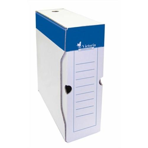 Archiváló doboz, A4, 100 mm, karton, VICTORIA, kék-fehér