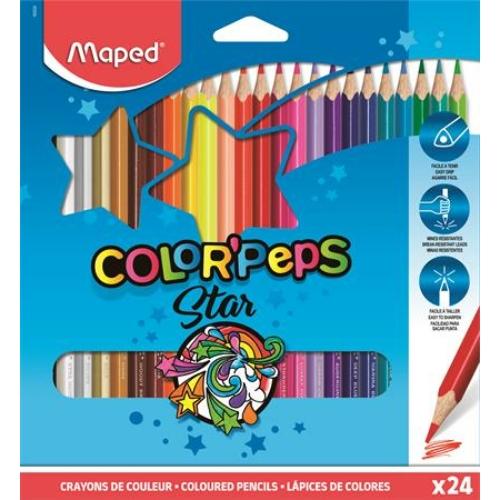 """Színes ceruza készlet, háromszögletű, MAPED """"Color`Peps"""", 24 különböző szín"""