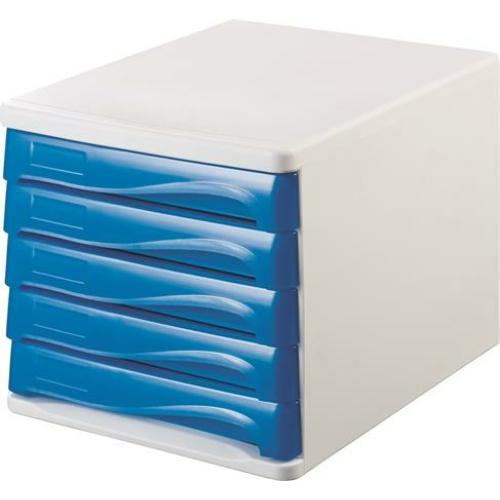 Irattároló, műanyag, 5 fiókos, HELIT, fehér/kék